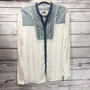 Desigual Long Sleeved Western Studded Peasant Top